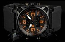 Infantry CubeDual orange pánske hodinky