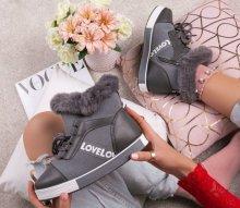 Dámske zimné tenisky LOVE sivé