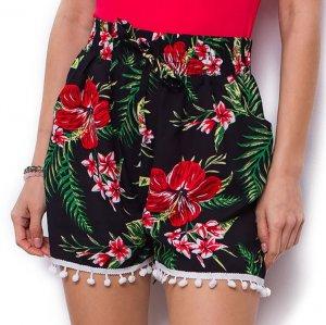 Dámske šortky Beneta čiernočervené
