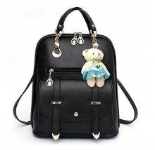Dámsky batoh Femi čierny + prívesok medvedík