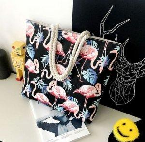 Plážová taška Flamingo čierna