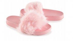 Dámske šľapky s kožušinkou Givero pink